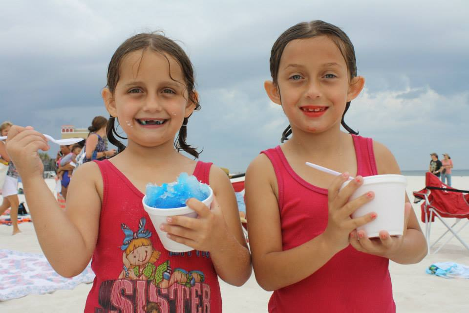 two girls with snocones